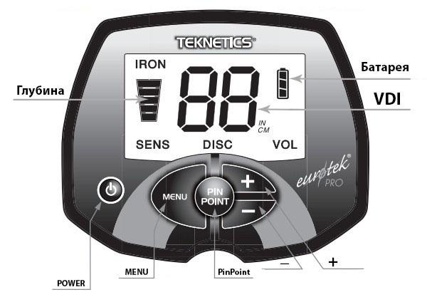 Дисплей металлоискателя Teknetics Eurotek PRO 8